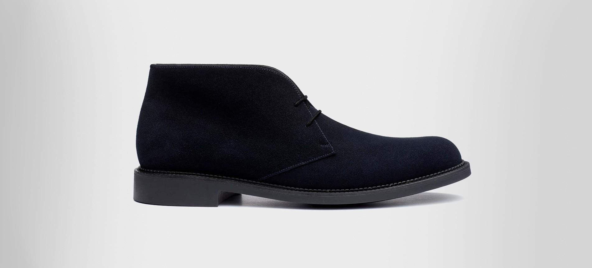 Chukka boot Navy blue suede calfskin