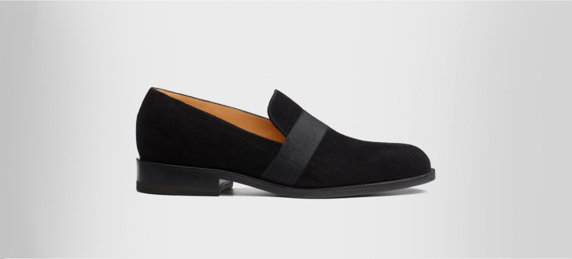Tuxedo loafer Black suede goatskin