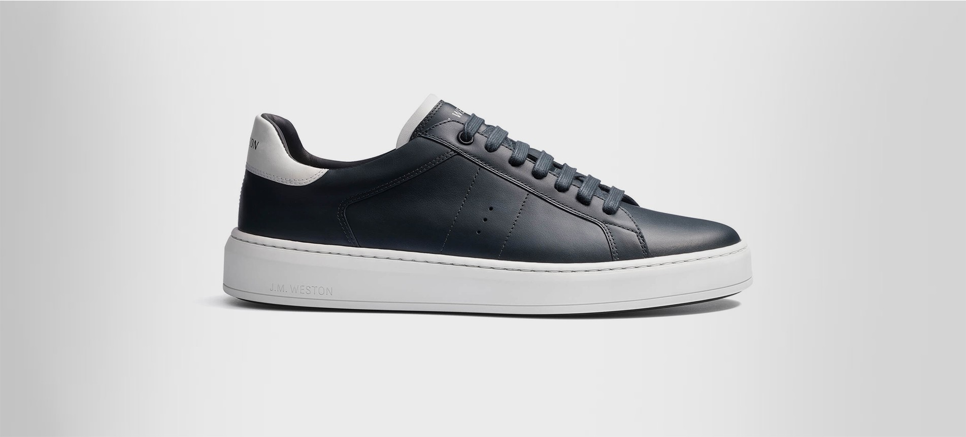 Sneaker On Time Grey Soft Calfskin With White Details Sneakers J M Weston